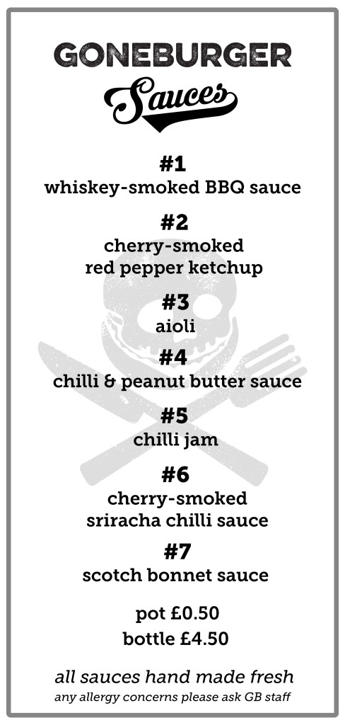 GB Lex Sauce Menu